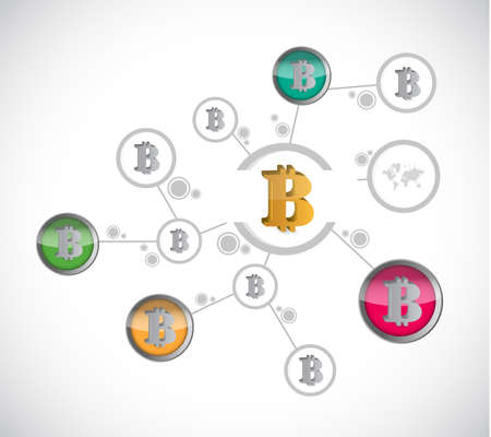 business bitcoin diagram sign illustration design over a white background Vectores