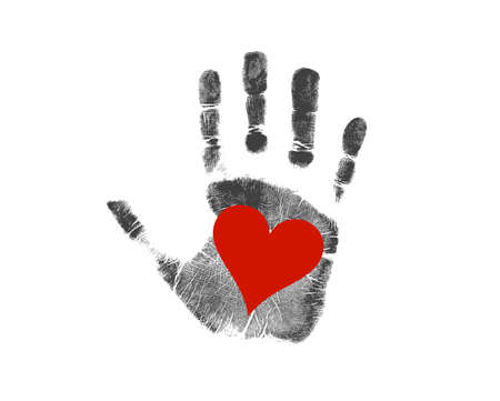love handprint sign illustration design over a white background