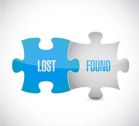 lost and found puzzle pieces sign illustration design over a white background Ilustração