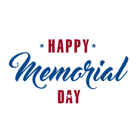 Happy memorial Day holiday copy sign isolated over white