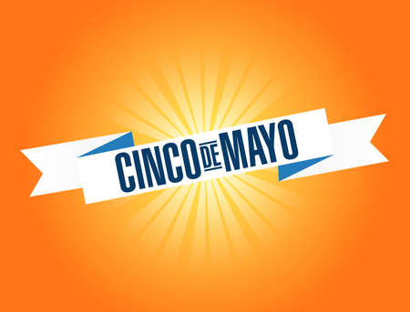 cinco de mayo traditional fiesta holiday ribbon isolated over a orange background