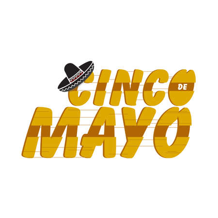 cinco de mayo traditional fiesta holiday sign isolated over a white background