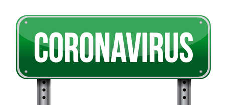 Coronavirus ahead warning sign isolated over a white background Çizim