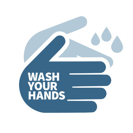 wash your hands sign icon message isolated over a white background Illustration