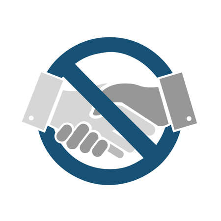 no handshakes please sign isolated over a white background