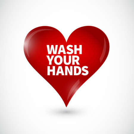 wash your hands heart icon message isolated over a white background