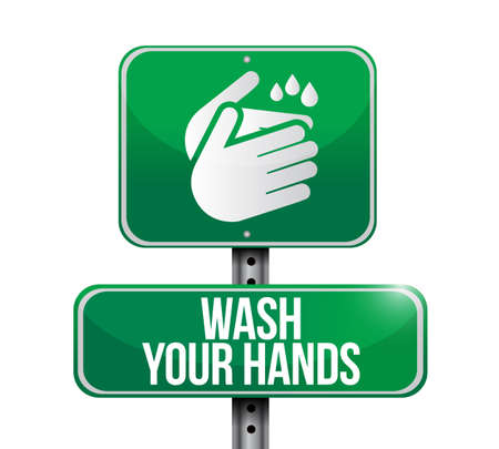 wash your hands street sign icon message isolated over a white background