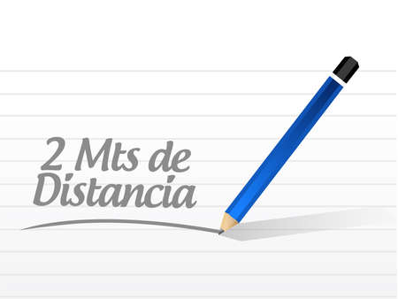 Stay 2mts apart notepad message sign in spanish illustration design over a white background