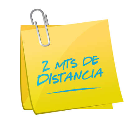 Stay 2mts apart sticky note sign in spanish illustration design over a white background