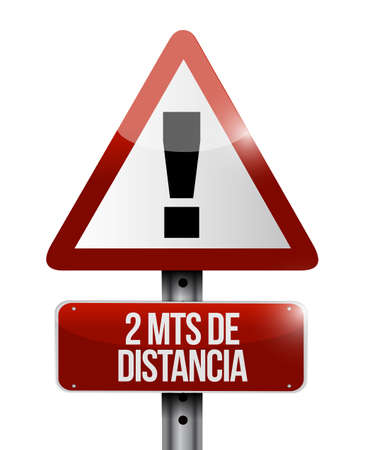 Stay 2mts apart warning street sign in spanish illustration design over a white background Çizim