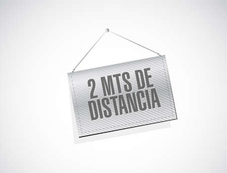 Stay 2mts apart hanging sign in spanish illustration design over a white background Çizim