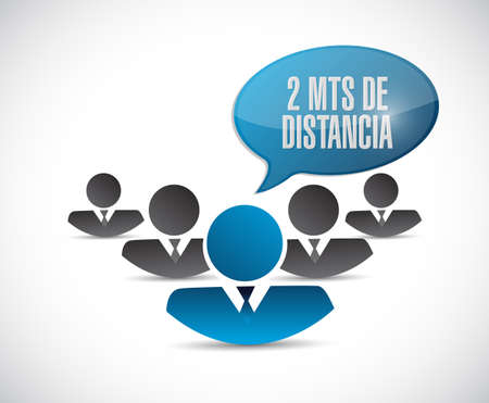Stay 2mts apart people in spanish illustration design over a white background Çizim