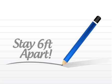 Stay 6ft apart notepad sign illustration design over a white background Çizim