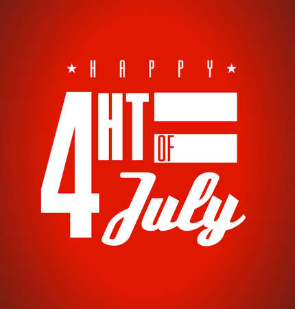 Happy Fourth of July. US national holiday sign isolated over a red background