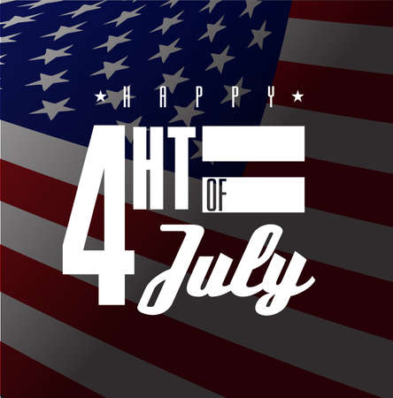 Happy Fourth of July. US national holiday sign isolated over a white background