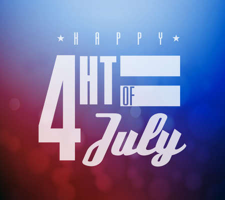 Happy Fourth of July. US national holiday sign isolated over a red and blue bokeh background