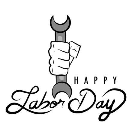 Happy Laybor Day worker hand illustration design over white Çizim