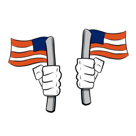 Patriot hands with the american flag. illustration design over white