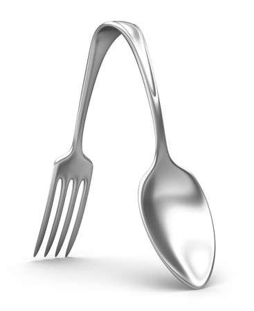 Cuillère et fourche hybride. Concept 3D