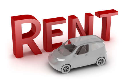 rent a car: Rent a car isolated on white. My own design