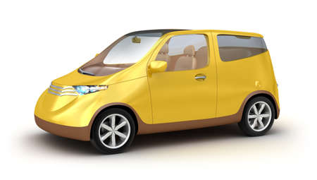 yellow car: Small yellow car on white background. My own design Stock Photo