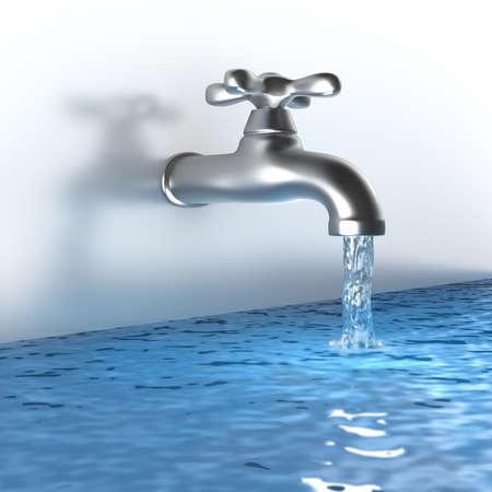 ahorrar agua: Chrome golpee con un chorro de agua Foto de archivo