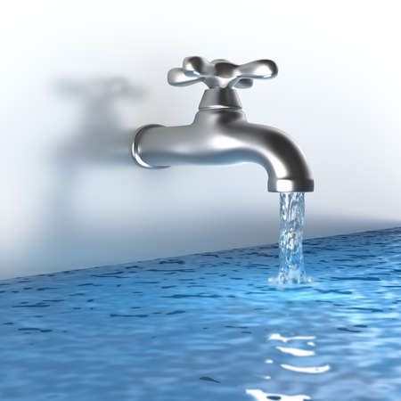 sink drain: Chrome tap with a water stream Stock Photo