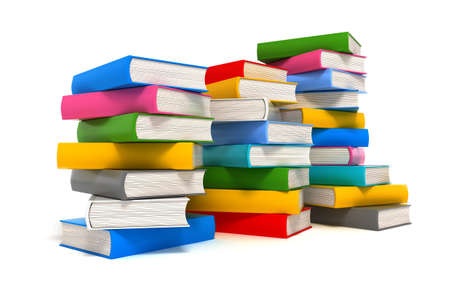 Books stack over white Stock Photo - 12177843