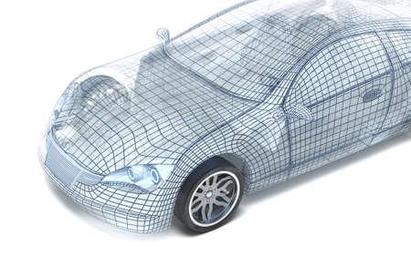 Car design, le modèle fil de fer. Mon propre design.