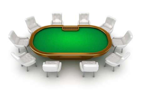 texas hold em: Mesa de p�ker con vista superior sillas aisladas en blanco