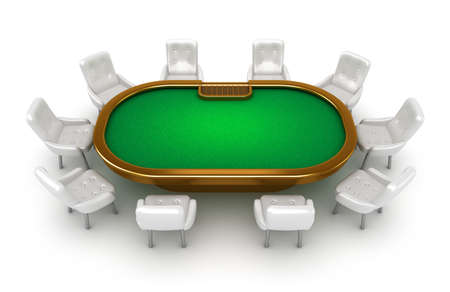 Poker table with chairs top view isolated on white photo