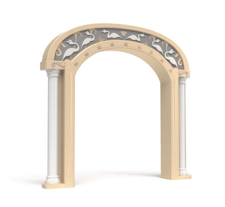 stone arch: Archway with vintage decoration. Isolated over white
