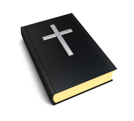 Bible book and silver cross over white photo