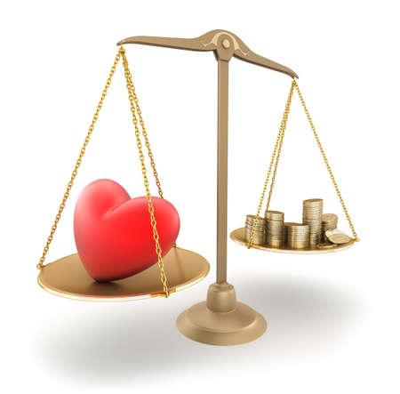 balanza justicia: El precio del amor. Concepto de 3d Foto de archivo