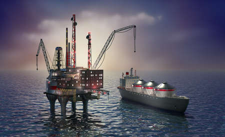 transporting: Drilling offshore platform and tanker Stock Photo