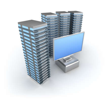 Hosting Server Farm and monitor Stock Photo - 12688661
