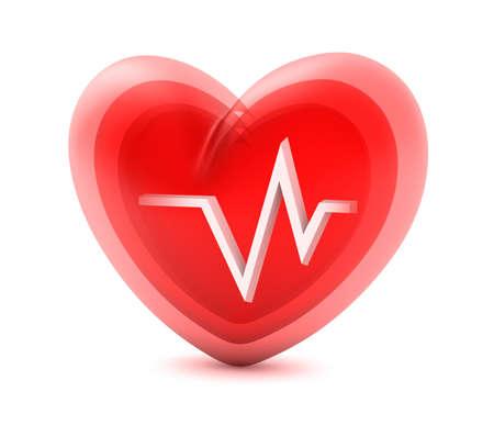 cardioid: Coraz�n rojo y el electrocardiograma aislado en blanco
