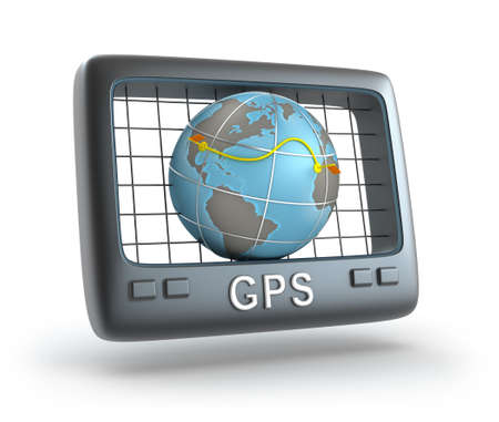 gps device: GPS world tracker 3D concept Stock Photo
