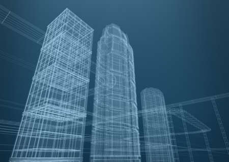City of skyscrapers in shapes  Concept 3D design Stock Photo - 12688670