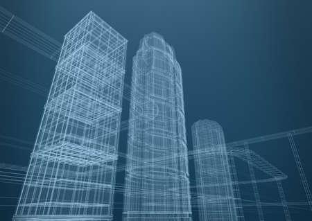 Stad van wolkenkrabbers in vormen Concept 3D-ontwerp Stockfoto