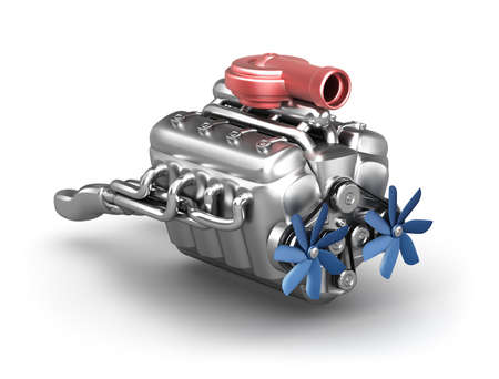 exhaust: V8 engine with turbocharger over white  My own design