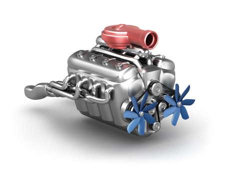 turbocharger: V8 engine with turbocharger over white  My own design