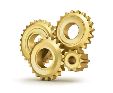 toothed: Golden cog gears over white