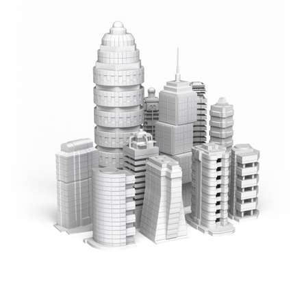 commercial district: Skyscrapers white ctiy , isolated Stock Photo