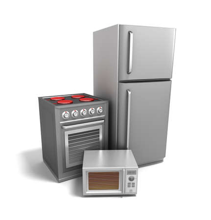 kitchen appliances: Kitchen electronics over white