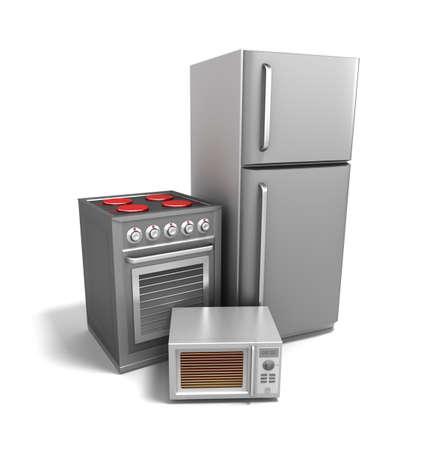 La electrónica de cocina de más de blanco Foto de archivo