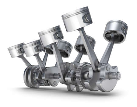 V8 engine pistons  3D image  photo
