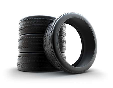 Winter tires over white photo