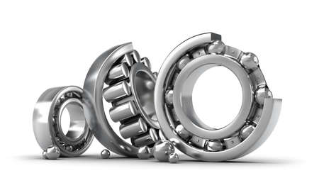 ball bearing: Detailed bearings production over white