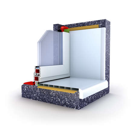 Section of a window construction model  3D render  Stock Photo - 13300796